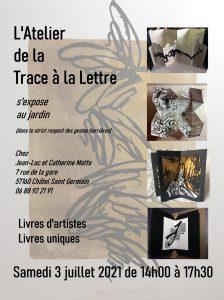 """Affiche exposition au jardin """"De la trace à la lettre"""" juillet 2021 Association Art-Mu"""